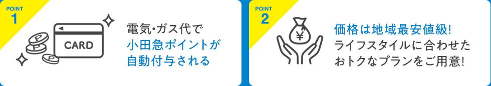 POINT1 気・ガス代で小田急ポイントが自動付与される  POINT2 価格は地域最安値級!ライフスタイルに合わせたおトクなプランをご用意!