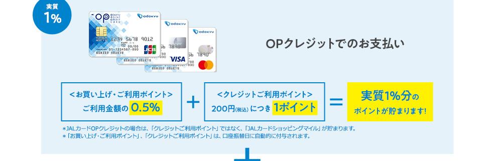 実質1% OPクレジットでのお支払い お買い上げ・ご利用ポイント>ご利用金額の 0.5% +<クレジットご利用ポイント>200円(税込)につき 1ポイント = 実質1%分のポイントが貯まります!