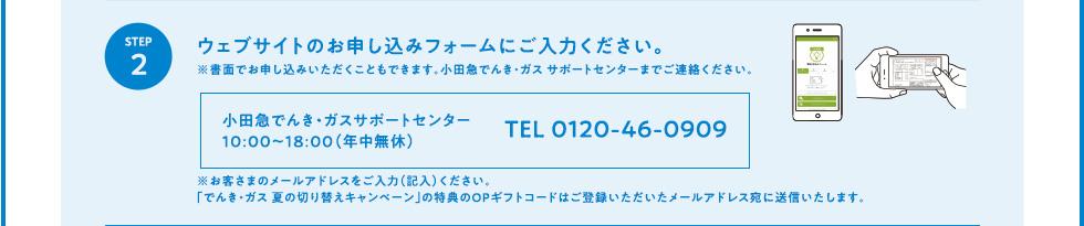 STEP2 ウェブサイトのお申し込みフォームにご入力ください。※書面でお申し込みいただくこともできます。小田急でんき・ガス サポートセンターまでご連絡ください。