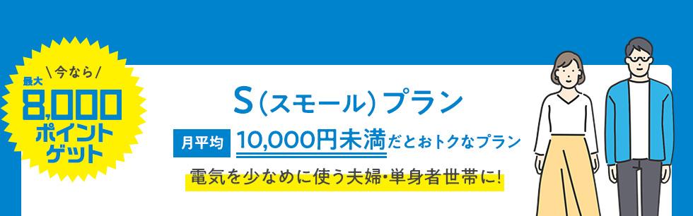 今なら最大8000ポイントゲット S(スモール)プラン 月平均10,000円未満だとおトクなプラン 電気を少なめに使う夫婦・単身者世帯に!
