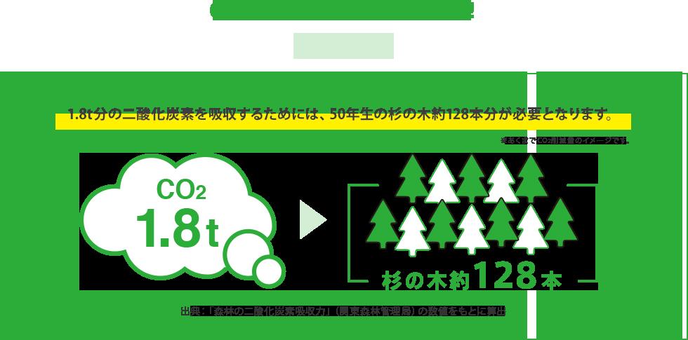 CO2約1.8t分はこんな量!! 1.8t分の二酸化炭素を吸収するためには、50年生の杉の木約128本分が必要となります。※あくまでCO2削減量のイメージです。出典:「森林の二酸化炭素吸収力」(関東森林管理局)の数値をもとに算出