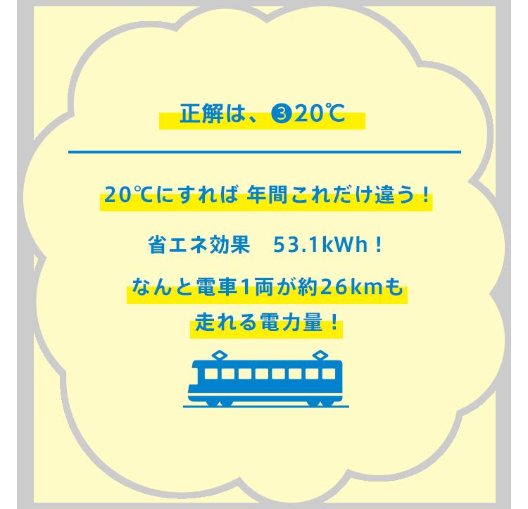 知ってるだけで、ほんとに、どんだけ〜〜〜!20℃にすれば 年間これだけ違うの〜!省エネ効果 53.1kWh!なんと電車1両が約26kmも走れる電力量〜!
