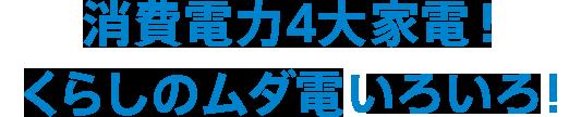 消費電力4大家電!くらしのムダ電どんだけ〜!