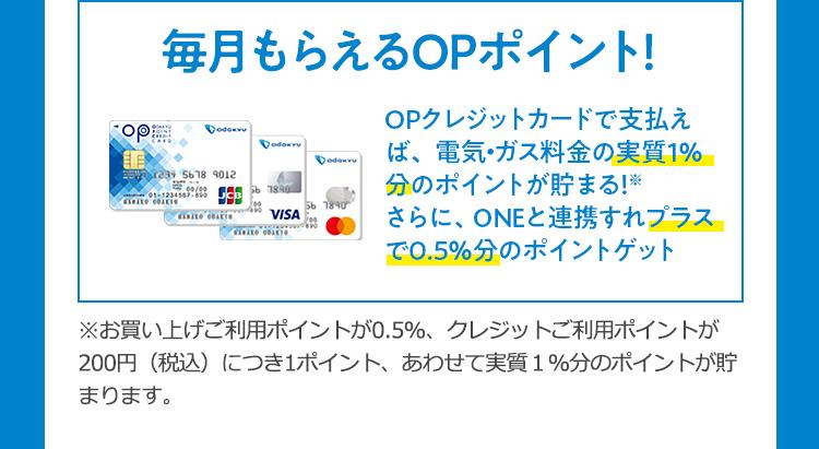 毎月もらえるOPポイント!OPクレジットカードで支払えば、 電気・ガス料金の実質1%分のポイントが貯まる!※ さらに、ONEと連携すれプラスで0.5%分のポイントゲット