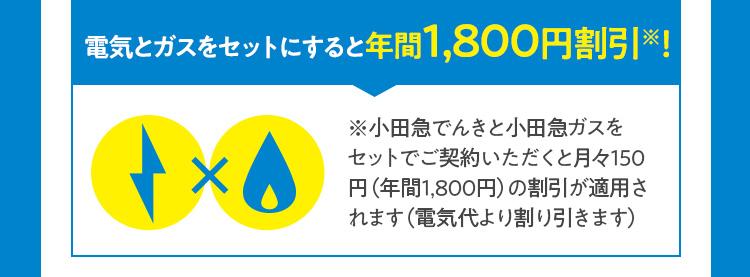 電気とガスをセットにすると年間1,800円割引※!
